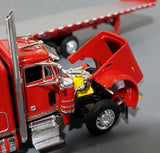 1/64 DCP  PETERBILT 379 RED TRI DRIVE WITH 7 AXLE FLAT TOP TRAILER 60-0807