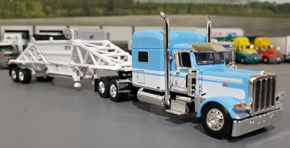 1/64 DCP / FIRST GEAR PETERBILT 389 BLUE & WHITE WITH BOTTOM DUMP TRAILER TRAILER 60-0798