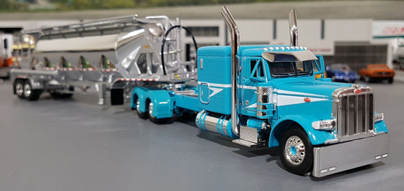 1/64 DCP / FIRST GEAR PETERBILT 379 TEAL/CHROME WITH J&L VAC VERSION PNEUMATIC TANKER TRAILER