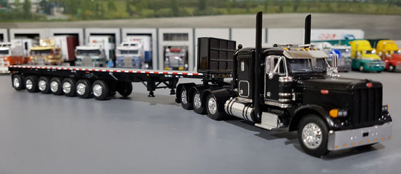 1/64 DCP  PETERBILT 379 BLACK TRI DRIVE WITH 7 AXLE FLAT TOP TRAILER 60-0809