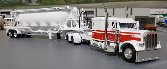 1/64 DCP / FIRST GEAR PETERBILT 379 WHITE WITH J&L VAC VERSION PNEUMATIC TANKER TRAILER