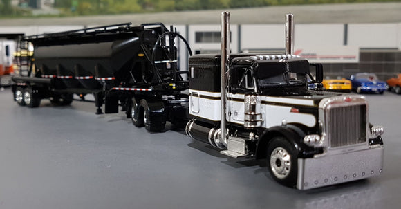 1/64 DCP / FIRST GEAR PETERBILT 379 BLACK WITH J&L VAC VERSION PNEUMATIC TANKER TRAILER