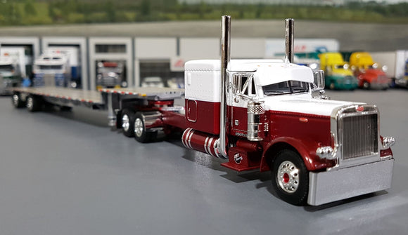 1/64 DCP / FIRST GEAR PETERBILT 379 IMT TRANSPORT WITH DROP DECK TRAILER
