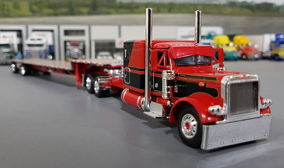 1/64 DCP / FIRST GEAR PETERBILT 379 RED/BLACK WITH DROP DECK TRAILER