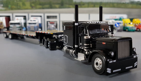 1/64 DCP / FIRST GEAR PETERBILT 379 BLACK WITH DROP DECK TRAILER