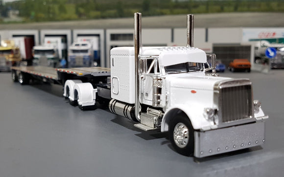 1/64 DCP / FIRST GEAR PETERBILT 379 WHITE WITH DROP DECK TRAILER