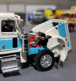 1/64 DCP  PETERBILT 389 WHITE & BLUE STS TRANSIT WITH TRI TIPPING COAL TRAILER 60-0827
