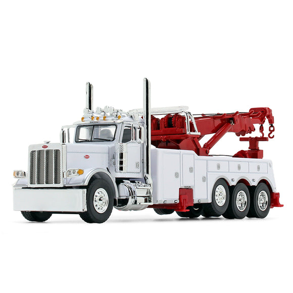 1/64 SCALE PETERBILT 389 DAY CAB HEAVY TOWING ROTATOR TRUCK IN WHITE/RED DCP/FIRST GEAR