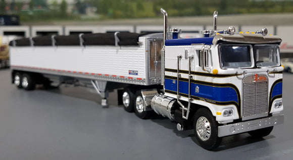 1/64 DCP / FIRST GEAR K100 KENWORTH BLUE AND WHITE WITH GRAIN TRAILER