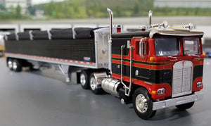 1/64 DCP / FIRST GEAR K100 KENWORTH BLACK AND RED WITH GRAIN TRAILER