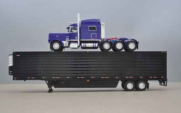 PRE ORDER 1/64 DCP PURPLE PETERBILT 389 TRI DRIVE WITH REFRIGERATED TRAILER