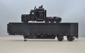PRE ORDER 1/64 DCP BLACK 389 TRI DRIVE WITH REFRIGERATED TRAILER