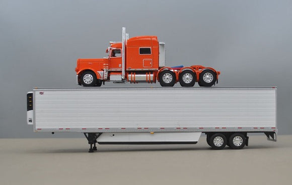 PRE ORDER 1/64 DCP ORANGE 389 TRI DRIVE WITH REFRIGERATED TRAILER