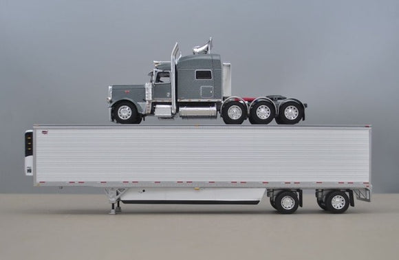PRE ORDER 1/64 DCP SILVER GRAY 389 TRI DRIVE WITH REFRIGERATED TRAILER