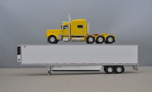 PRE ORDER 1/64 DCP YELLOW 389 TRI DRIVE WITH REFRIGERATED TRAILER