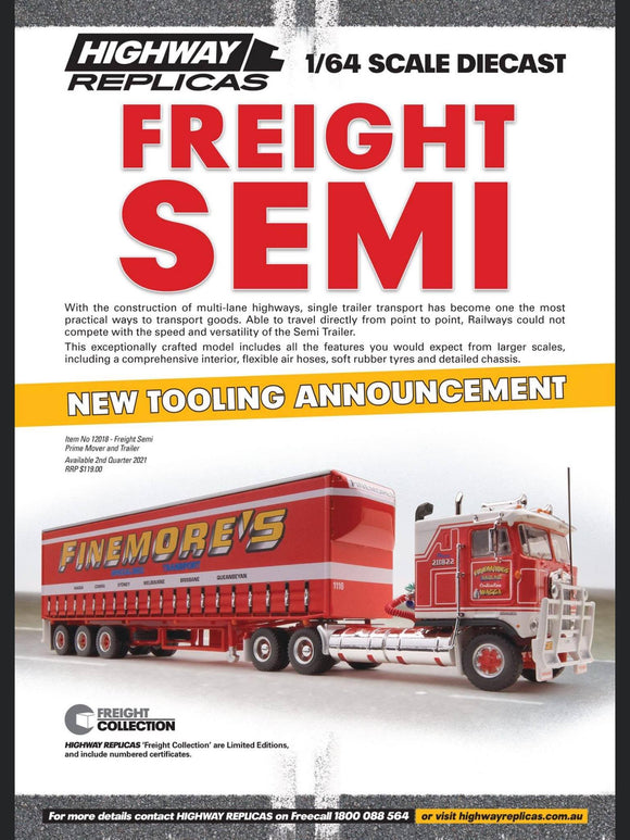 PRE ORDER 1/64 HIGHWAY REPLICAS FINEMORES KENWORTH CAB OVER WITH TRI AXLE TAUTLINER TRAILER