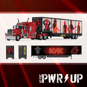 PRE ORDER 1/64 SCALE DCP / FIRST GEAR AC/DC PWR UP PETERBILT WITH DROP DECK TRAILER