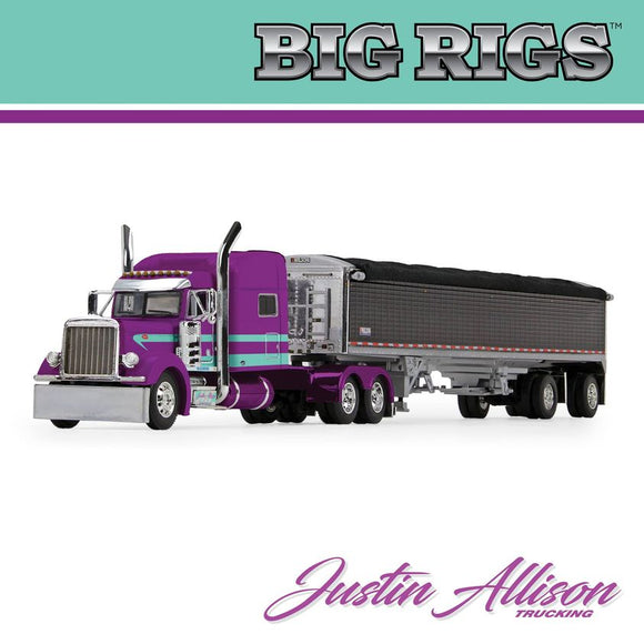PRE ORDER 1/64 SCALE DCP / FIRST BIG RIGS 4 JUSTIN ALISON TRUCKING  PETERBILT WITH GRAIN TRAILER