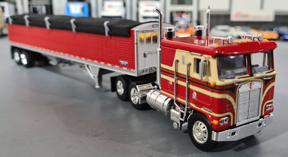 1/64 DCP / FIRST GEAR K100 KENWORTH RED/TAN/ BLACK WITH GRAIN TRAILER 60-0908