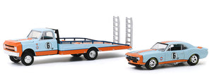 1/64 GREENLIGHT GULF 1970 CHEV C-30 RAMP TRUCK AND 1967 CAMARO NEW ON CARD