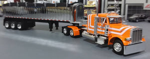 1/64 DCP  PETERBILT 379 ORANGE & WHITE WITH TRI AXLE TIPPING COAL TRAILER 33079