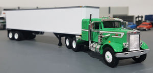 1/64 PETERBILT GREEN/WHITE AND TRAILER DIECAST MADE BY FIRST GEAR DIECAST