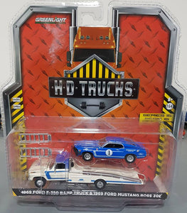 1/64 GREENLIGHT 1969 F350 RAMP TRUCK AND 1969 BOSS MUSTANG NEW ON CARD