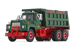 1/64 DCP / FIRST GEAR MACK R-MODEL GREEN TANDOM TIPPER WITH WORKING BODY