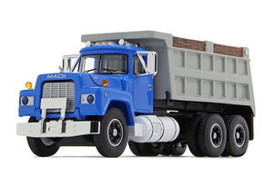 1/64 DCP / FIRST GEAR MACK R-MODEL BLUE TANDOM TIPPER WITH WORKING BODY