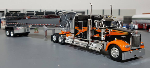 1/64 DCP / FIRST GEAR KENWORTH W900L BLACK/ORANGE WITH TIPPING TRAILER