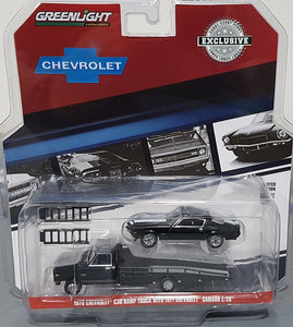 1/64 GREENLIGHT 1970 CHEV C-30 RAMP TRUCK AND 1971 CAMARO Z/28  NEW ON CARD