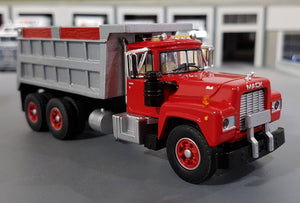 1/64 DCP / FIRST GEAR MACK R-MODEL RED TANDOM TIPPER WITH WORKING BODY