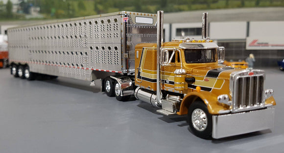 1/64 DCP / FIRST GEAR PETERBILT 359 DC GOLD WITH TRI AXLE LIVESTOCK TRAILER