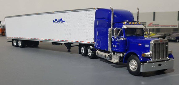 1/64 DCP PETERBILT 379 A&M TRANSPORT WITH BOX VAN TRAILER NEW IN BOX
