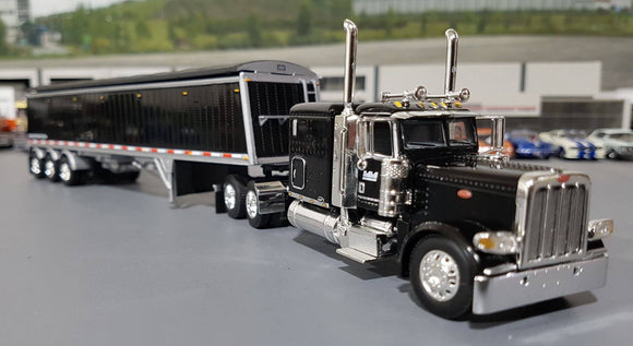 1/64 DCP / FIRST GEAR PETERBILT 389 BLACK WITH TRI AXLE GRAIN TRAILER 60-0441