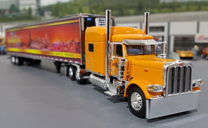 1/64 DCP PETERBILT ORANGE 389 SCOTLYNN GROUP WITH REFRIGERATED TRAILER NEW IN BOX