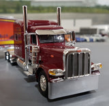 1/64 DCP PETERBILT BURGUNDY 389 SCOTLYNN GROUP WITH REFRIGERATED TRAILER NEW IN BOX