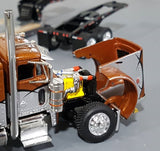 1/64 DCP PETERBILT 379 TRI DRIVE & HEAVY LOWBOY TRI AXLE TRAILER BRONZE ORANGE AND BLACK