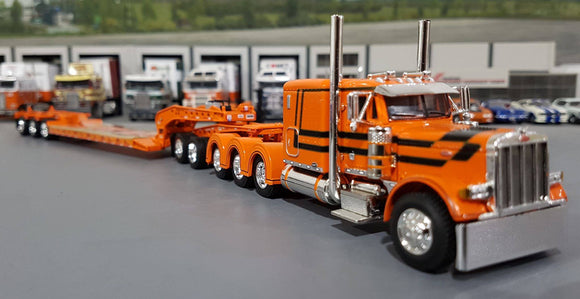 1/64 DCP PETERBILT 379 TRI DRIVE & HEAVY LOWBOY TRI AXLE TRAILER ORANGE AND BLACK