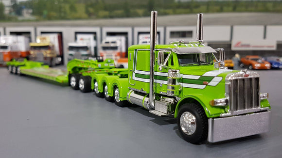 1/64 DCP PETERBILT 379 TRI DRIVE & HEAVY LOWBOY TRI AXLE TRAILER LIME GREEN
