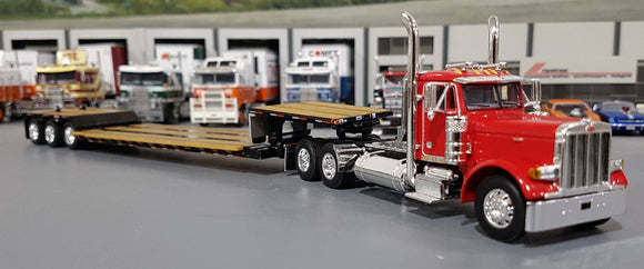 1/64 DCP / FIRST GEAR PETERBILT 379 RED WITH EXTENDABLE DROP DECK TRI AXLE TRAILER