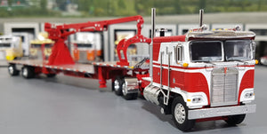 1/64 DCP / FIRST GEAR K100 KENWORTH WHITE AND RED WITH DROP DECK CRANE TRAILER 60-0697