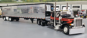 1/64 DCP PETERBILT 379 BLACK WITH RED STRIPES AND CHROME SIDED TRAILER NEW IN BOX