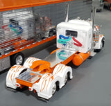 1/64 DCP PETERBILT 379 WHITE WITH ORANGE FLAMES AND CHROME SIDED TRAILER NEW IN BOX