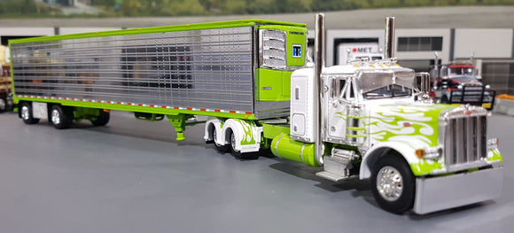 1/64 DCP PETERBILT 379 WHITE WITH GREEN FLAMES AND CHROME SIDED TRAILER NEW IN BOX