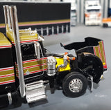 1/64 DCP / FIRST GEAR PETERBILT 359 BLACK/GOLD/RED WITH TAUTLINER TRAILER