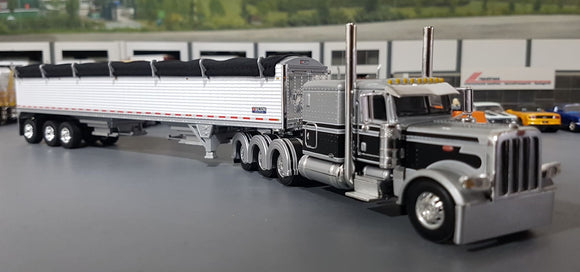 1/64 DCP PETERBILT 389 TRI DRIVE  JW SILVER WITH TRI AXLE GRAIN TRAILER NEW IN BOX