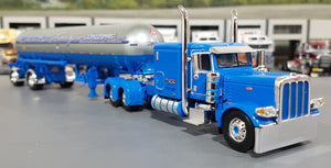 1/64 DCP / FIRST GEAR PETERBILT 389 BLUE ACCORD WITH LPG TANKER TRAILER