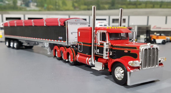 1/64 DCP PETERBILT 389 TRI DRIVE  JW RED/BLACK WITH TRI AXLE GRAIN TRAILER NEW IN BOX