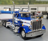 1/64 DCP PETERBILT 359 DAY CAB BLUE/WHITE WITH GRAIN TRAILER NEW IN BOX